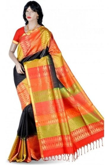 Elegant Black, Mehndi Green and Red Pure Silk Saree