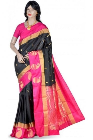 Elegant Black, Gold and Pink Pure Silk Saree