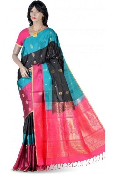 Classy Black, Pink and Blue Pure Silk Saree