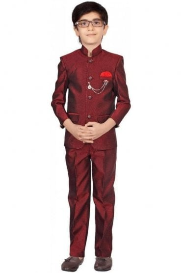 BCS19003 Maroon and Red 2 Piece Boy's Coat Suit