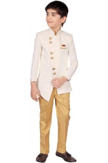 BCS19004 Cream and Gold 2 Piece Boy's Indo Western Sherwani Suit