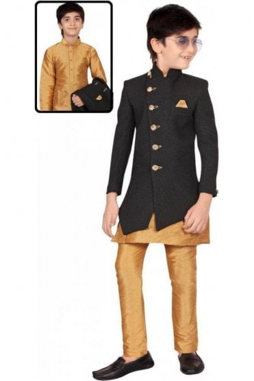 BCS19005 Black and Gold 3 Piece Boy's Indo Western Sherwani Suit