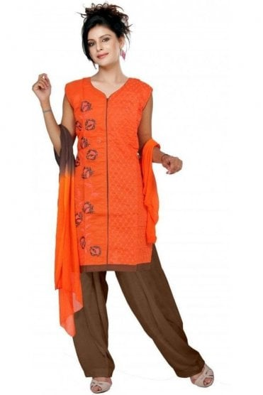 WCS19131 Orange and Brown Churidar Suit