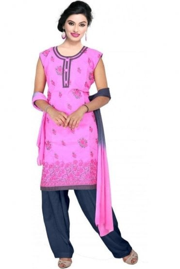 WCS19132 Pink and Grey Churidar Suit