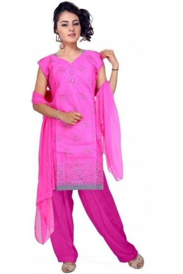 WCS19137 Pink and Grey Churidar Suit