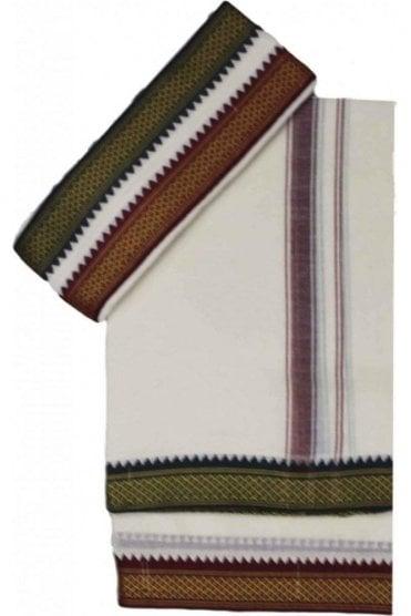 VST2000 Ivory Men's Traditional Veshti / Dhoti / Vasti with Angavastram