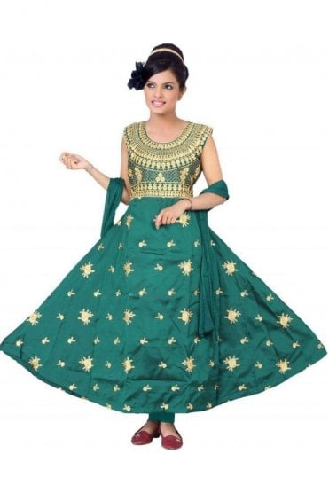 WCS19264 Green  and Gold Churidar Suit