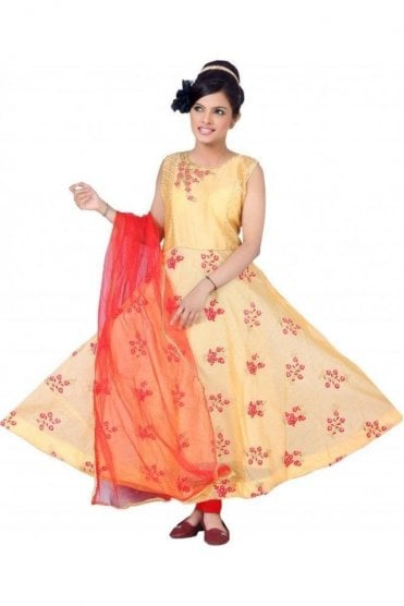 WCS19272 Peach  and Red Churidar Suit