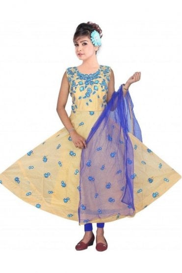 WCS19286 Beige and Blue Churidar Suit