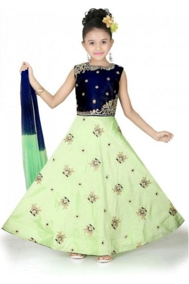 GLC19041 Navy Blue and Parrot Green Girl's Lengha Choli