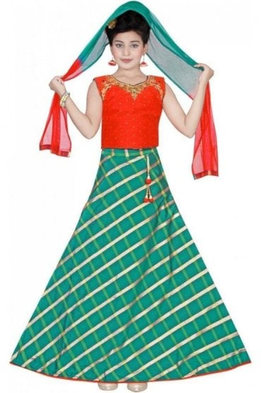 GLC19065 Red and Green Girl's Lengha Choli