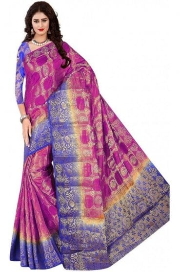 APS19060 Purple and Navy Blue fancy art silk Party Saree