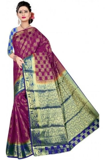 APS19110 Purple and Navy Blue fancy art silk Party Saree