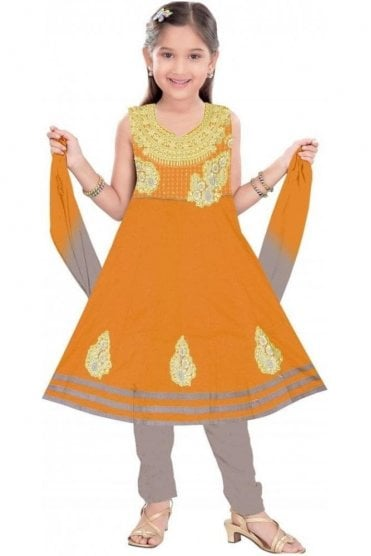 GCS19271 Mustard and Grey Girl's Churidar Suit