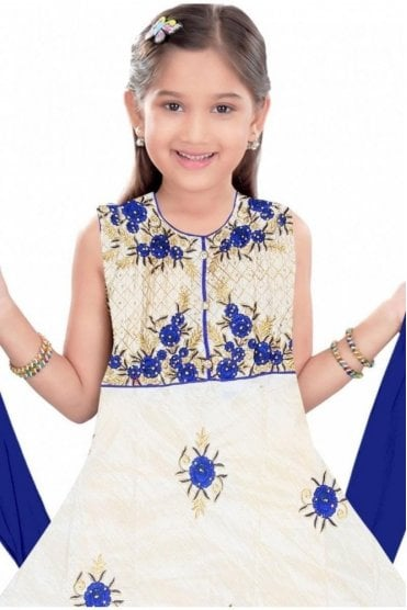 GCS19312 Cream and Blue Girl's Churidar Suit
