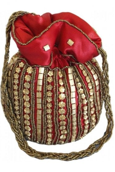 Pot_Red Red and Antique Gold Indian Potli / Batwa Bag