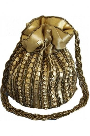 Pot_Gol Gold and Antique Gold Indian Potli / Batwa Bag