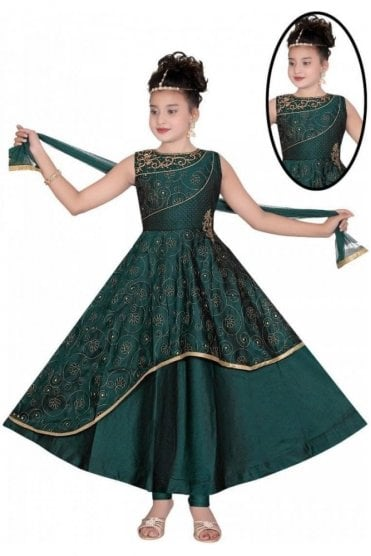 GCS19538 Green and Gold Girl's Churidar Suit