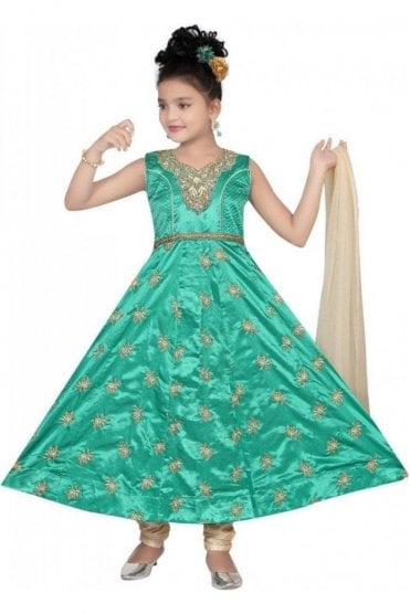 GCS19545 Jade Green and Gold Girl's Churidar Suit