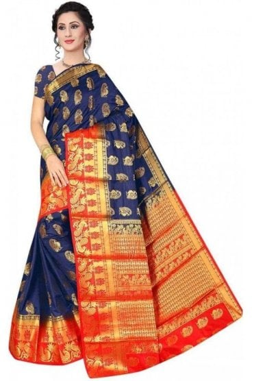 APS19221 Navy Blue and Red Fancy Art Silk Party Saree