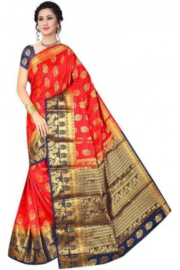 APS19223 Red and Navy Blue Fancy Art Silk Party Saree
