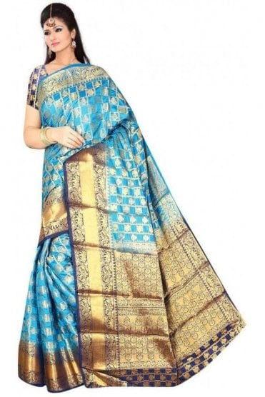 APS19235 Blue and Navy Blue Fancy Art Silk Party Saree