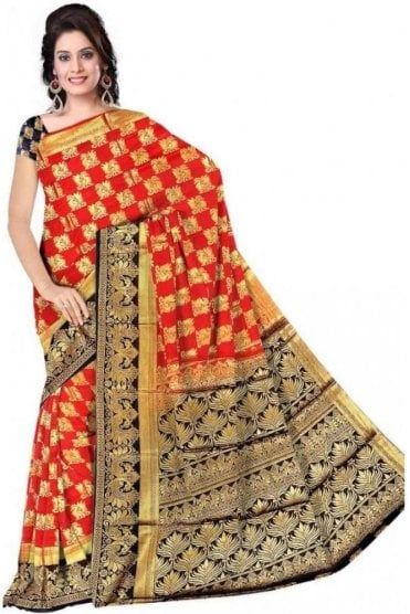 APS19244 Red and Navy Blue Fancy Art Silk Party Saree