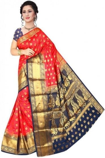 APS19251 Rouge Pink and Navy Blue Fancy Art Silk Party Saree