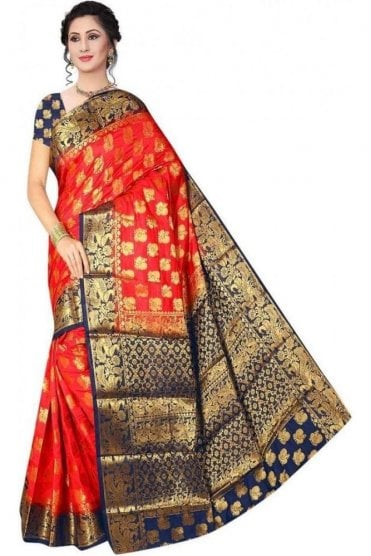 APS19254 Red and Navy Blue Fancy Art Silk Party Saree