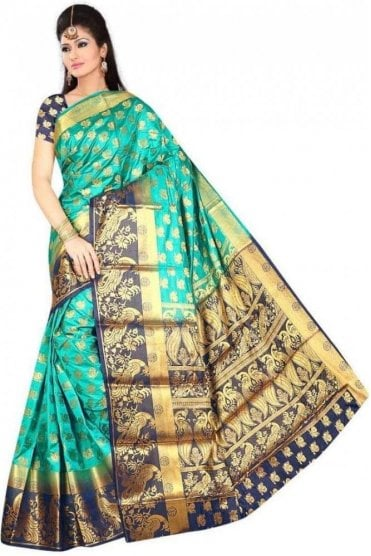 APS19258 Jade Green and Navy Blue Fancy Art Silk Party Saree
