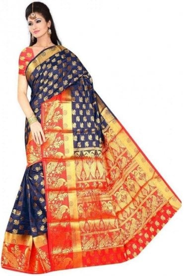 APS19259 Navy Blue and Red Fancy Art Silk Party Saree