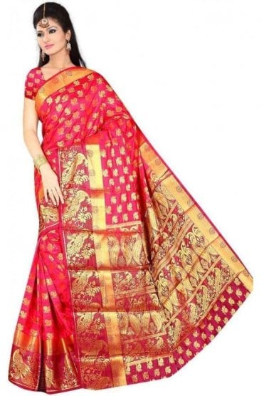 APS19261 Pink and Purple Fancy Art Silk Party Saree
