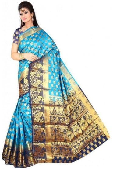 APS19263 Blue and Navy Blue Fancy Art Silk Party Saree