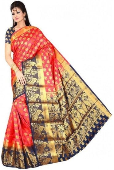 APS19264 Rouge Pink and Navy Blue Fancy Art Silk Party Saree