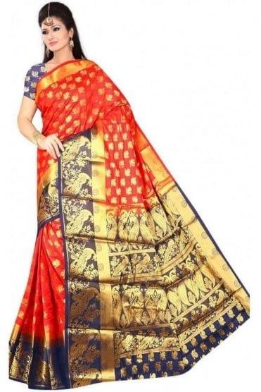 APS19265 Red and Navy Blue Fancy Art Silk Party Saree