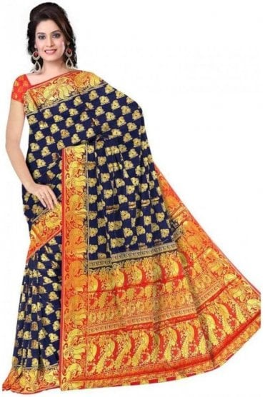 APS19267 Navy Blue and Red Fancy Art Silk Party Saree
