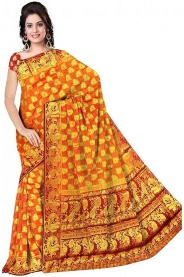 APS19268 Mustard and Maroon Fancy Art Silk Party Saree