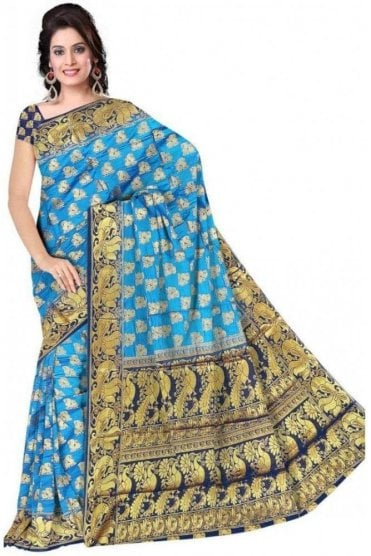 APS19270 Blue and Navy Blue Fancy Art Silk Party Saree