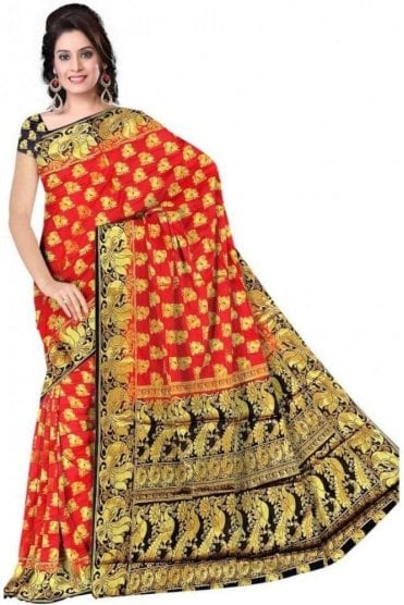 APS19273 Red and Navy Blue Fancy Art Silk Party Saree