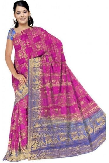 APS19274 Pink and Blue Fancy Art Silk Party Saree