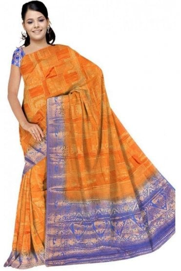 APS19279 Mustard and Blue Fancy Art Silk Party Saree