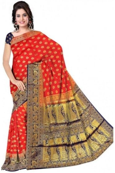 APS19288 Red and Navy Blue Fancy Art Silk Party Saree