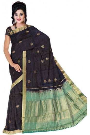 APS19289 Black and Green Fancy Art Silk Party Saree