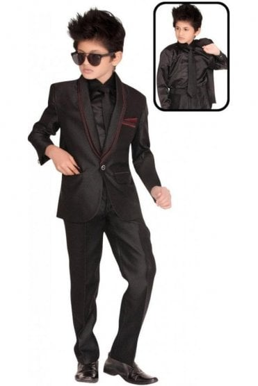 BCS19012 Black and Maroon 4 Piece Boy's Coat Suit