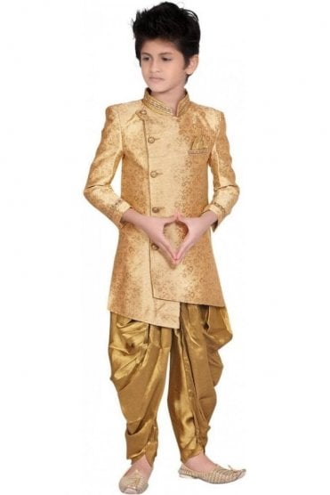 BCS19014 Champagne Gold and Gold 2 Piece Boy's Indo Western Sherwani Suit
