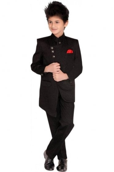 BCS19015 Black and Red 2 Piece Boy's Indo Western Coat Suit