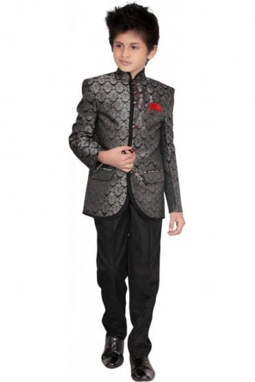 BCS19017 Grey Silver and Black  2 Piece Boy's Indo Western Coat Suit