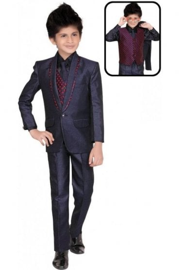 BCS19018 Navy Blue and Red 5 Piece Boy's Indo Western Coat Suit