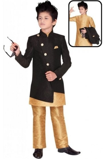BCS19019 Black and Gold 3 Piece Boy's Indo Western Sherwani Suit