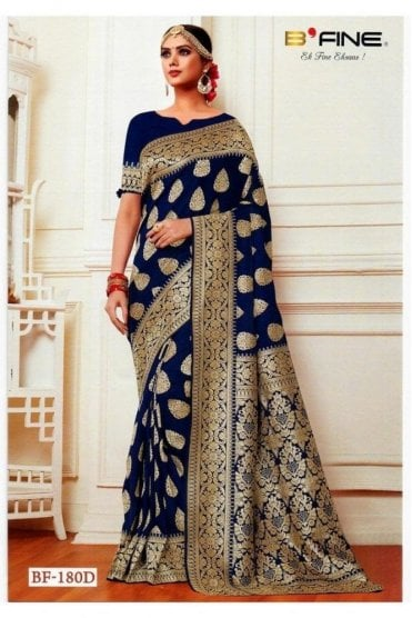 BEN19015-180D Navy Blue and Gold Benarasi Art Silk Saree
